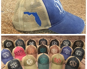 Monogram trucker hat with state of florida on side, monogram women hat, trucker hat, florida hat, florida state hat, state