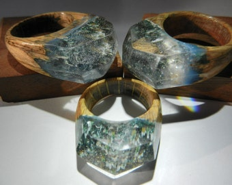 SALE*** Mountain Landscape Wood/Resin Ring