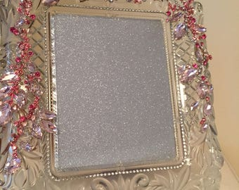 Mikasa Crystal Picture Frame/Jeweled Photo Frame/Rhinestone Picture Frame/Weddings/Bridal/Birthdays/Anniversary/