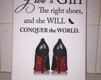 Stunning A4 Glitter Shoe Quote Canvas