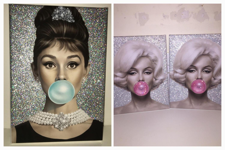 Marilyn monroe ornaments - Stunning A4 Audrey Hepburn Or Marilyn Monroe Glitter Canvas