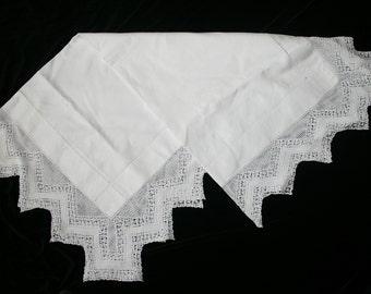Vintage Irish Linen Table Cloth with Fine Crochet Edging