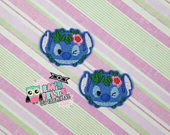 Blue Alien Feltie, Felt Appliques, Felt Embelishment, Set of 4