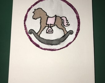 Hand painted pink rocking horse card