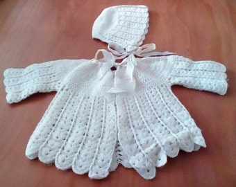 Egg-shell/Off-White Infant/Baby's Hand-Knit Sweater with Matching Hat