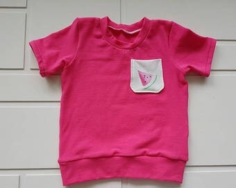T shirt pink with Pocket melon