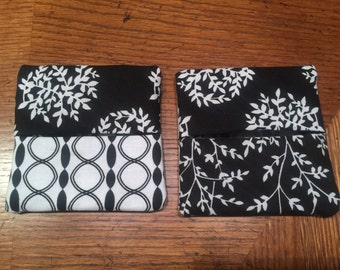 Black and White Wine Glass Covers/Coasters Set of 2