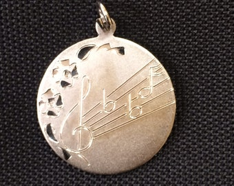 925 Sterling Silver Music Pendant