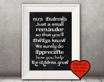 Personalized Care Giver Babysitter Childcare Day Care Poem Thank you babysitter Personalized Print Your Own Digital File chalkboard art