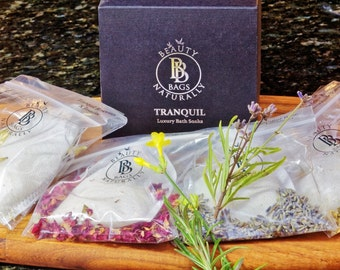 Tranquil Beauty Bags- Luxury Bath Soaks using all natural ingredients.