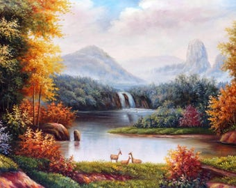 "Autumn in Jiuzhaigou Valley - Original Handmade Painting / Gallery Wrapped / 47""x 25"""
