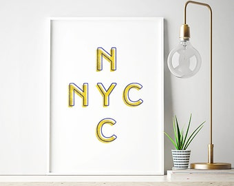 New York City Print, Typography, New York Printable, NYC, Retro Poster, Letterpress, Printable Wall Art, Instant Download, Digital, PDF