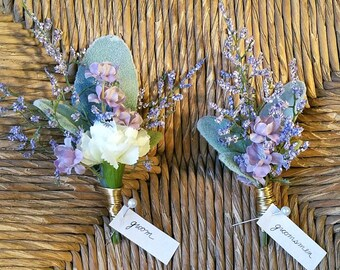 Handmade Purple Boutonniers, made to order, silk flowers