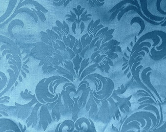 Blue damask upholstery fabric