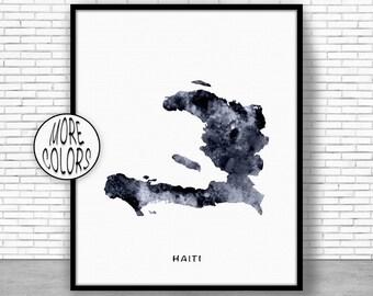 Haiti Map Art Print Haiti Art Print Haiti Decor Haiti Print Map Artwork Map Print Map Poster Watercolor Map ArtPrintZone