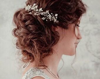 Wedding pearl headpiece  Bridal hairpiece Wedding Tiara Wedding Hair Vine Hair Chain Headpiece hair chain art deco boho wedding halo