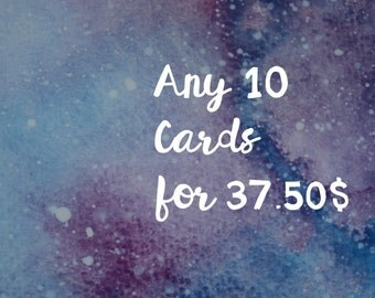 10 cards for 37.50,  10 cartes pour 37.50, pick your own cards, pack of 10 cards, choose your own cards