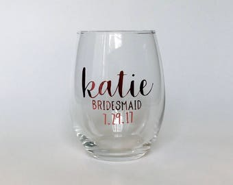 Rose Gold Wine Glasses - Bridesmaid Wine Glasses - Custom Wine Glasses - Stemless Rose Gold Wine Glass