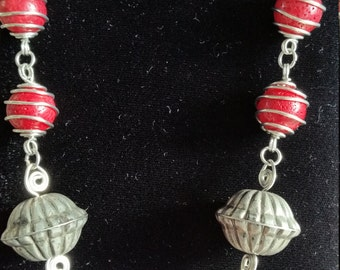 Simply Stunning Red Coral and Silver Wire Necklace