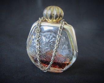 Vintage 1970s Purse Shaped Petite Cologne Bottle Containing Partial Contents of Bird of Paradise Cologne