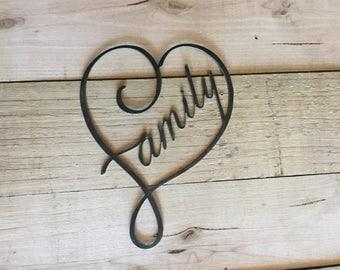 Family Steel Wall Garden Art Sign Plasma Cut