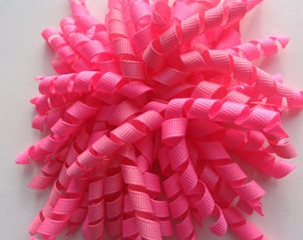Pink Pom Pom Corker Hair Bow hot pink korker ready to ship