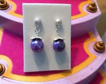 Girls small sterling silver studs purple drop earrings- kids dangle earrings- stainless steel post blue earrings-