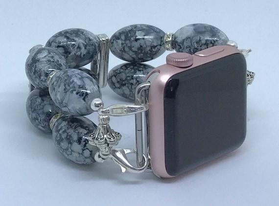 """Apple Watch Band, Women Bead Bracelet Watch Band, iWatch Strap, Apple Watch 38mm, Apple Watch 42mm, Grey Silver Sizes 6 1/2"""" - 6 3/4"""""""