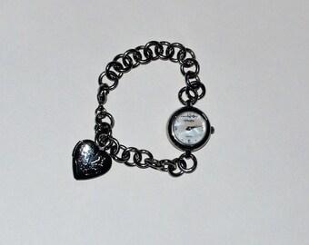Romantic Gruen Ladies Heart Locket Watch with Mother-of-Pearl