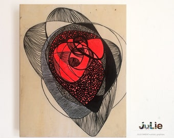 Organitron of love, ink, black and red, design, organic, original work on wood, decorative Panel, 8 x 10