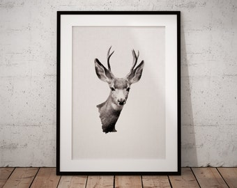 Deer Head, Woodland Deer Art, Nursery Deer Art, Antler Deer Print, Wall Art Deer Head, Deer Head Decor, Deer Print, Woodland Deer Print