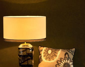 Black swirl glass table lamp base with handmade lampshade