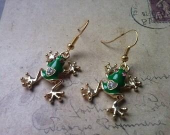 Frog earrings ~ gold ~.
