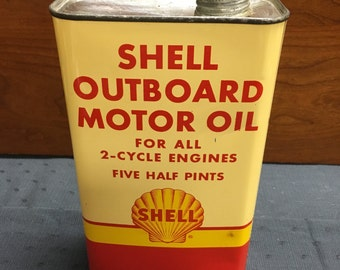 Beautiful Example of Rare Size Shell Outboard Motor Oil Metal Can - Five Half Pints - Empty