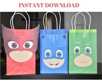 PRINT - PJ masks favor bag, Pj masks treat bag, Pj masks loot bag, Pj masks goody bag, Catboy favor bag, Candy bag, DIY party favor bag
