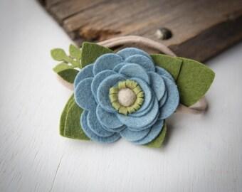 Denim Blue Felt Flower Headband