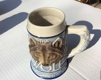 "Vintage Tom O'Brien ""American Animal Stein"" Wolf"