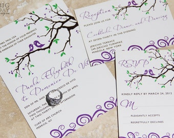 Whimsical lovebirds wedding invitations. Sparrow and branches wedding invitations. Fun lovebird wedding invitations