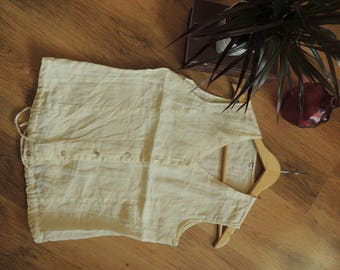 FREE SHIPPING - Vintage Ivory Linen/cotton like blouse with mother pearl buttons and belt straps, size M