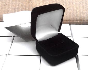 Velvet Ring Box Flocked Square Black Boxes Single or Lot Gift Jewelry Charm Pack Coin