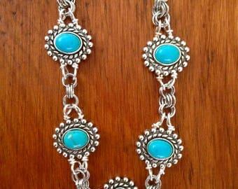 Antiqued Turquoise Chain Mail Bracelet, Silver Bracelet, Unique Bracelet