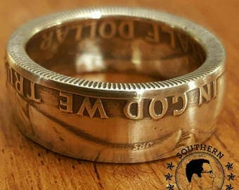 90% silver Franklin half dollar coin ring