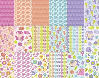 """SALE Under the Sea 10"""" Stackers/Layer Cake by Doodlebug Designs for Riley Blake - 42, 10"""" X 10"""" Precut Fabric Squares"""