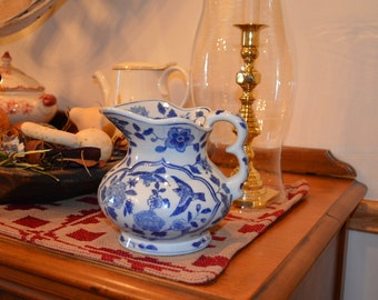 Vintage, farmhouse, cottage chic, country cobalt blue and white ceramic, bird and flower pattern small pitcher with handle