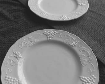 2 White Milk Glass Plates with grapes and vines