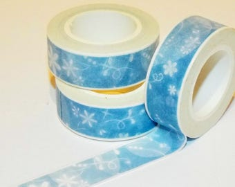 White Snow Flakes Blue Washi Japanese Tape. Scrapbook. Masking Tape. Christmas Washi Tape.