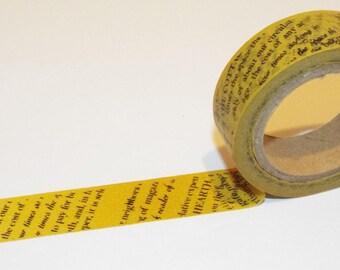 Daily News Washi Tape. Gold/Yellow Washi Tape. 15mmx10m