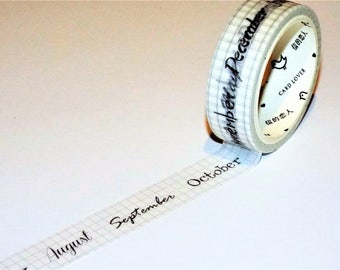 White Calendar Japanese Washi Tape. January-December. Scrapbook. Stationery Masking Tape. Pretty tape.