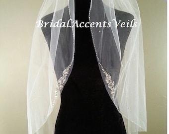 1T Single Layer Fingertip Length Crystal Beaded Edge Wedding Bridal Veil in White, Diamond White or Ivory
