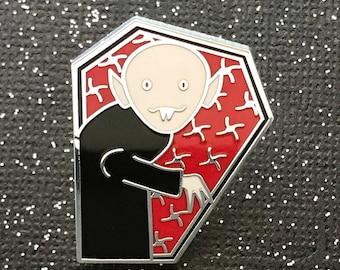 "Nosferatu Peeking From Coffin - 1.25"" Silver Lapel Pin Badge - Goth - Monster - Halloween"